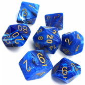 Blue & Gold Vortex Polyhedral 7 Dice Set